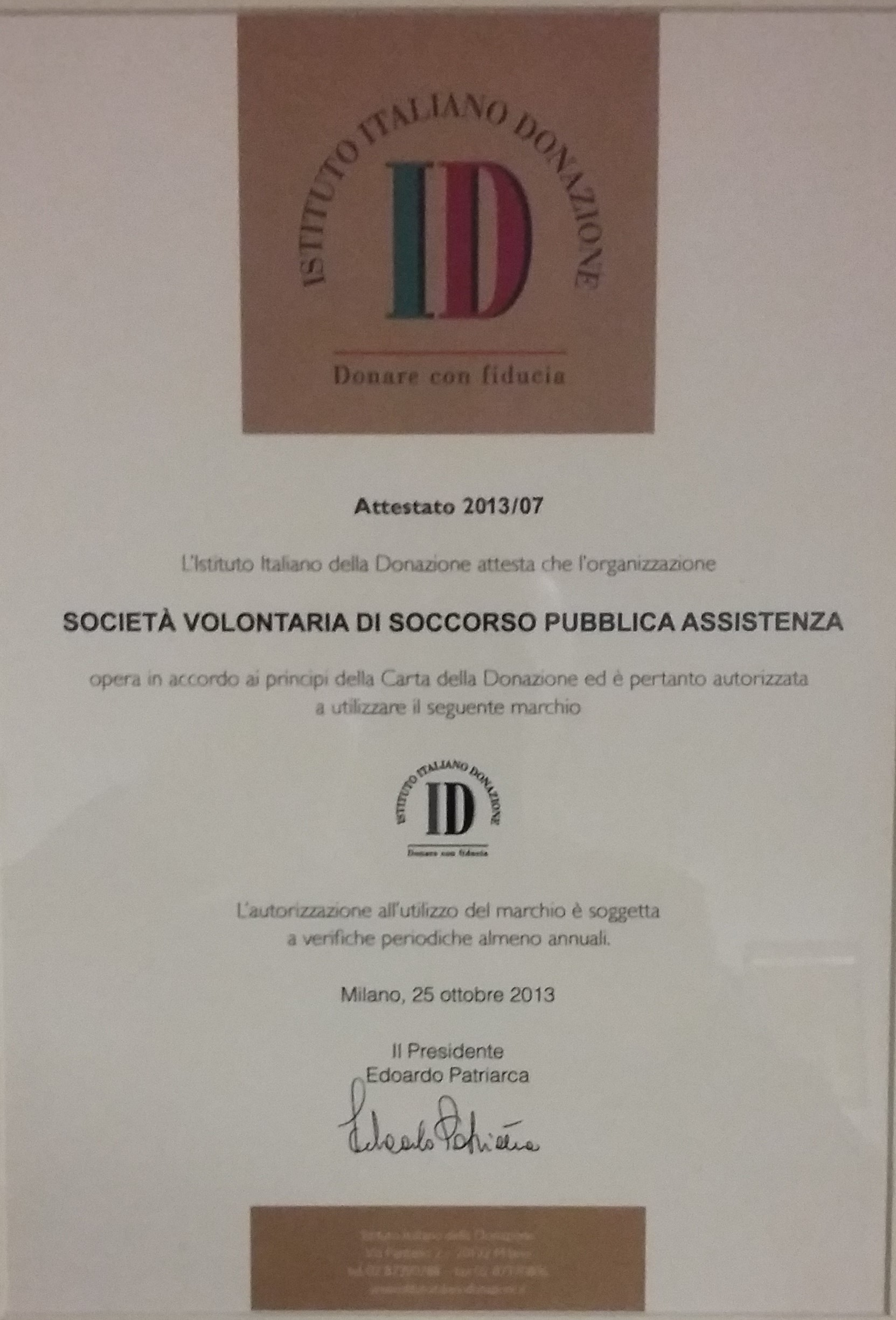 attestato istituto italiano donazione